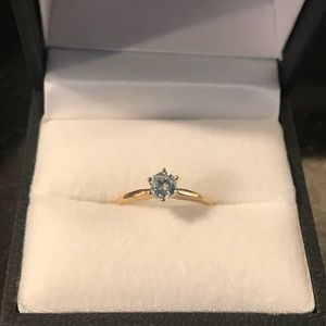 14k yellow gold .5 carat diamond solitaire ring